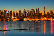 Bank Of America Framed Prints - New York City Skyline Morning Twilight V Framed Print by Clarence Holmes