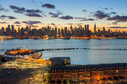 Bank Of America Framed Prints - New York City Skyline Morning Twilight VIII Framed Print by Clarence Holmes