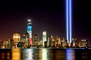 Skylines Photos - New York City Skyline Tribute in Lights and Lower Manhattan at Night NYC by Jon Holiday