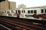 Railroads Photo Prints - New York City Subway. A Graffiti Print by Everett