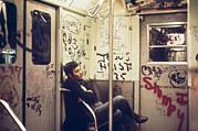 Vandalism Posters - New York City Subway. A Lone Passenger Poster by Everett