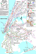New York City Drawings Prints - New York City Subway Map Print by Pg Reproductions