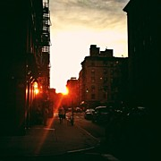 Landscapes Posters - New York City Sunset Poster by Vivienne Gucwa