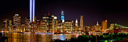 Skylines Metal Prints - New York City Tribute in Lights and Lower Manhattan at Night NYC Metal Print by Jon Holiday