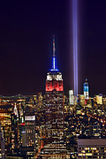 Skylines Metal Prints - New York City Tribute in Lights Empire State Building Manhattan at Night NYC Metal Print by Jon Holiday