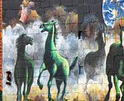 Horse Drawing Mixed Media Prints - New York City Wall Graffiti  Print by Ms Judi
