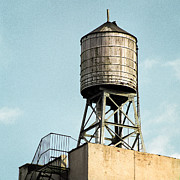 Rooftop Framed Prints - New York City water tower 1 Framed Print by Gary Heller
