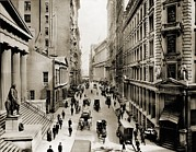 Economics Framed Prints - New York Citys Wall Street, Looking Framed Print by Everett
