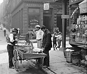 Padre Art Photo Framed Prints - New York Clam Seller in Mulberry Bend 1900 Framed Print by Padre Art