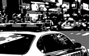 Cop Digital Art - New York Cop Car BW3 by Scott Kelley