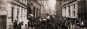 Exchanges Framed Prints - New York Curb Exchange In 1902.  The Framed Print by Everett