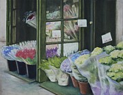 Rebecca Matthews Metal Prints - New York Flower Shop Metal Print by Rebecca Matthews