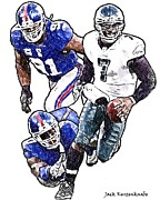 Michael Vick Framed Prints - New York Giants Jason Piere-Paul and Justin Tuck - Philadelphia Eagles Michael Vick Framed Print by Jack Kurzenknabe