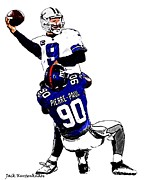 Dallas Cowboys Digital Art Metal Prints - New York Giants Jason Pierre-Paul - Dallas Cowboys Tony Romo  Metal Print by Jack Kurzenknabe