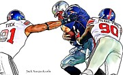 Tom Brady Prints - New York Giants Jason Pierre-Paul and Justin Tuck and New England Patriots Tom Brady  Print by Jack Kurzenknabe