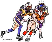 Sterling Art - New York Giants Mario Manningham - New England Patriots Sterling Moore by Jack Kurzenknabe