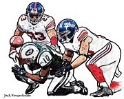 New York Jets Prints - New York Giants Michael Boley and Corey Webster New York Jets Santonio Holmes Print by Jack Kurzenknabe