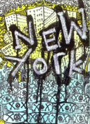 Cities Mixed Media Prints - New York Graffiti Scene Print by Robert Wolverton Jr