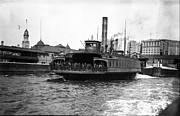 Conveyance Posters - New York harbour Steamship Whitehall leaving port a summers day in 1904 Poster by Finn Trygvason Klingenberg