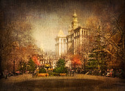 Nyc Mixed Media Metal Prints - New York in April Metal Print by Svetlana Sewell