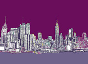 Monochrome Drawings Framed Prints - New York in purple Framed Print by Lee-Ann Adendorff
