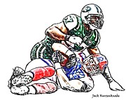 New York Jets Framed Prints - New York Jets Bart Scott - Buffalo Bills Jonathan Stupar  Framed Print by Jack Kurzenknabe