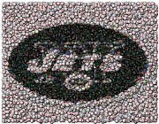 New York Jets Digital Art Posters - New York Jets Bottle Cap Mosaic Poster by Paul Van Scott
