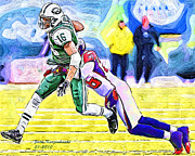 New York Jets Framed Prints - New York Jets Brad Smith and Atlanta Falcons Thomas DeCloud Framed Print by Jack Kurzenknabe