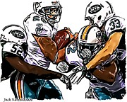 New York Jets Posters - New York Jets David Harris and Eric Smith - Miami Dolphins Lex Hilliard and Reggie Bush Poster by Jack Kurzenknabe