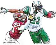 New York Jets Framed Prints - New York Jets LaDainian Tomlinson - Washington Redskins Oshiomogho Atogwe Framed Print by Jack Kurzenknabe