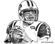 New York Jets Posters - New York Jets Mark Sanchez Poster by Jack Kurzenknabe