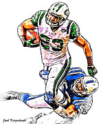New York Jets Framed Prints - New York Jets Shon Greene - Indianapolis Colts Kavell Conner Framed Print by Jack Kurzenknabe