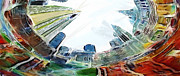 Nyc Skyline Paintings - New York Looking up the sky by Stefan Kuhn