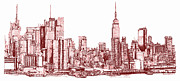 Red Buildings Drawings Framed Prints - New York maroon ink Framed Print by Building  Art