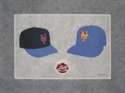 Baseball Painting Posters - New York Mets Caps Poster by Herb Strobino