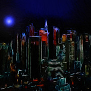 Skyscrapers. Painting Posters - New York Midnight Poster by Stefan Kuhn