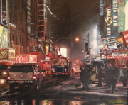 Mcdonalds Paintings - New York Night Lights in Snow by Peggy Selander