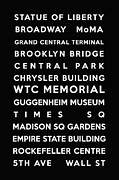 Typography Map Digital Art - New York by Nomad Art And  Design