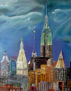 New York City Pastels Prints - New York  NY Print by Ginna Viveros
