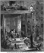 Gaslight Framed Prints - New York Poor In Summer Framed Print by Granger