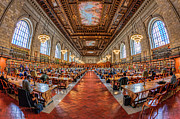 Historic Places Posters - New York Public Library Main Reading Room I Poster by Clarence Holmes