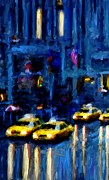 Leon Jimenez Framed Prints - New York Rainy Street Framed Print by Leon Jimenez