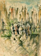 Fine American Art Drawings Posters - New York Roof Party - Impressionistic Poster by Peter Art Prints Posters Gallery