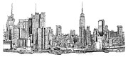 Skyscrapers Drawings Framed Prints - New York skyline in Ink Framed Print by Lee-Ann Adendorff