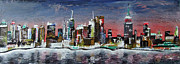 New York State Paintings - New York Skyline by Laura Hol Art