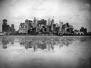 1920 Framed Prints - New York Skyline Reflected Framed Print by Underwood Archives