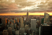Rockefellar Prints - New York Skyline Sunset Print by Brian Ray