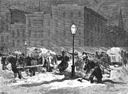 Streetlight Photos - New York: Snowstorm, 1867 by Granger