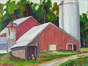 Silos Painting Posters - New York State Farm with Silos Poster by Richard Nowak