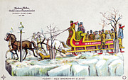 Drawn Painting Prints - New York: Steet Sleigh Print by Granger
